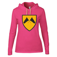 LADIES Lightweight Long Sleeve Hooded T-Shirt, COLORGUARD FLAGS_Full Color