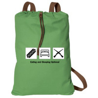 Cotton Cinch Bag, EAT, SLEEP, DRILL_Black