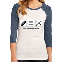 LADIES, 3/4 Sleeve Raglan Colorblock T Shirt, EAT SLEEP DRILL_Black