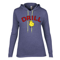 LADIES Long Sleeve Lightweight Hooded T Shirt, DRILL MOM_Full Color